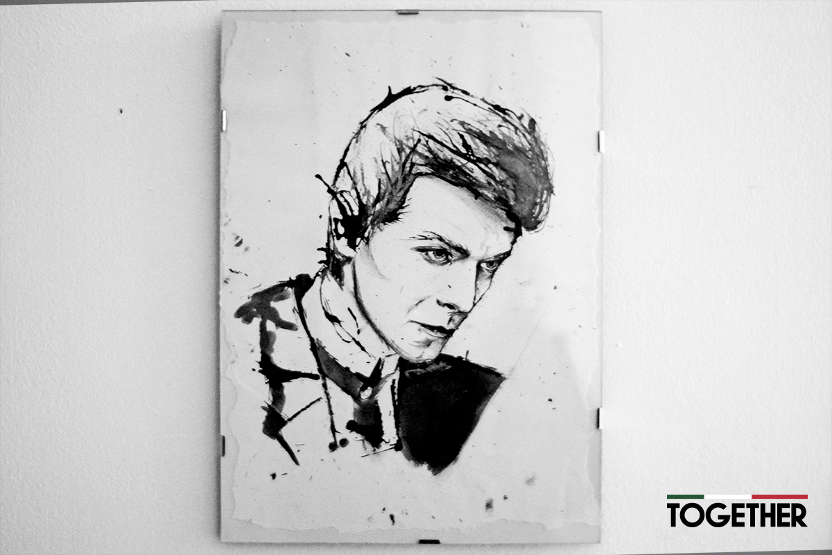 David Bowie disegno di Alice Belfiore in mostra a Together