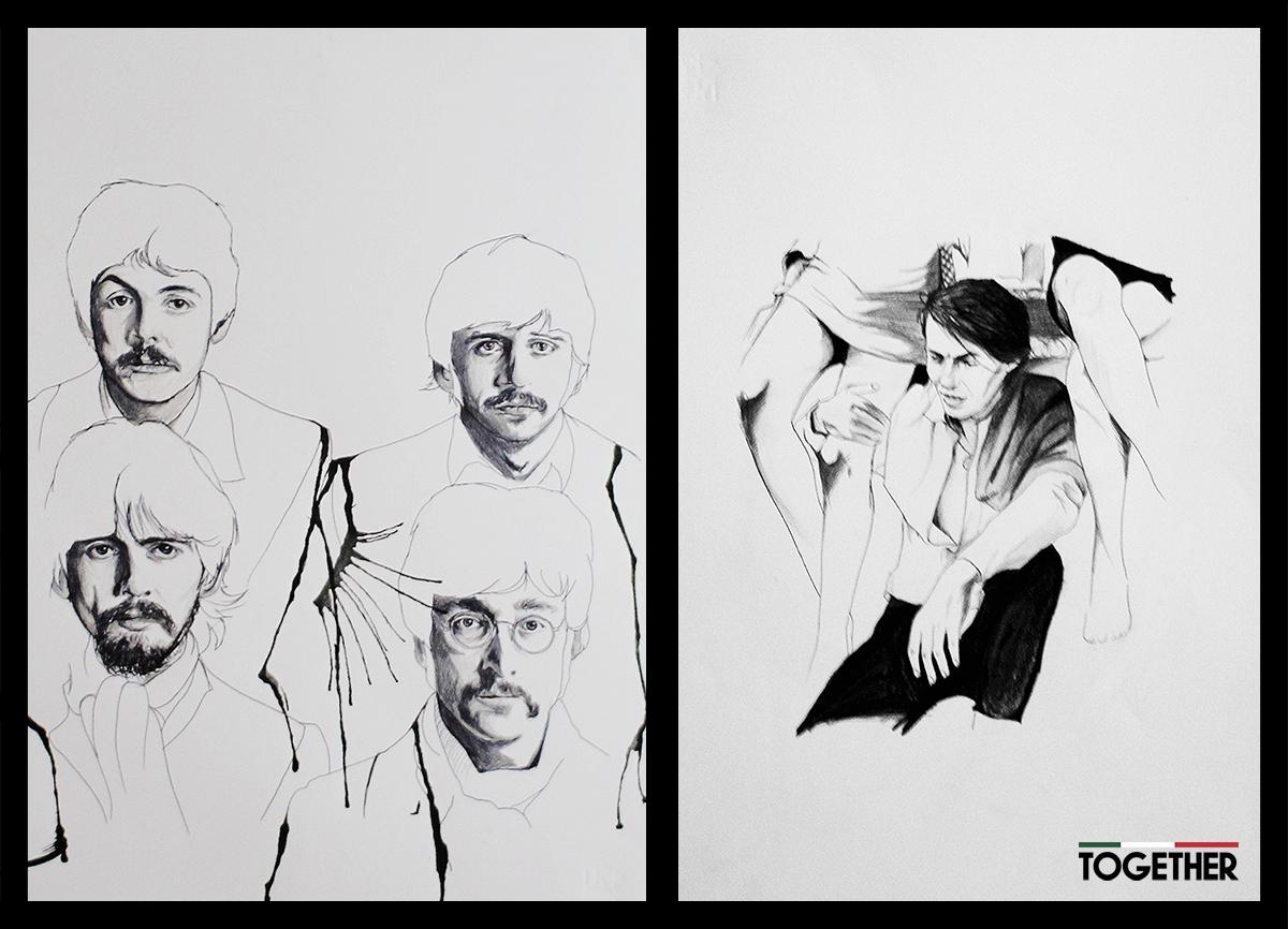 The Beatles e Faber- Fabrizio De Andrè disegni bic e pastelli di Alice Belfiore in mostra a Togehter